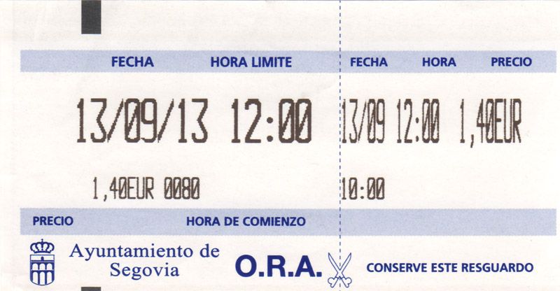 Logo en el ticket de la ORA Segovia