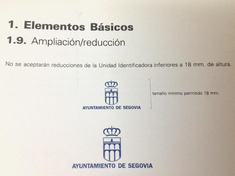 Tamaño mínimo del logo del Ayto de Segovia